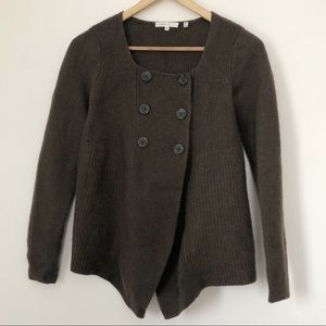 VINCE Wool + Cashmere Brown Button Up Cardigan